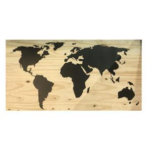 Carte du monde bois métal